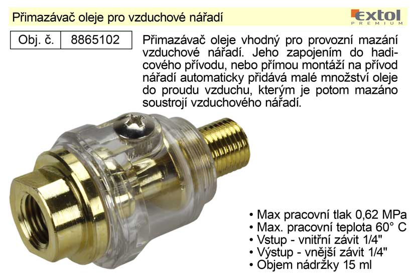 """INAIRCOM Přimazávač oleje pro vzduchové nářadí G 1/4""""a x 1/4""""i"""
