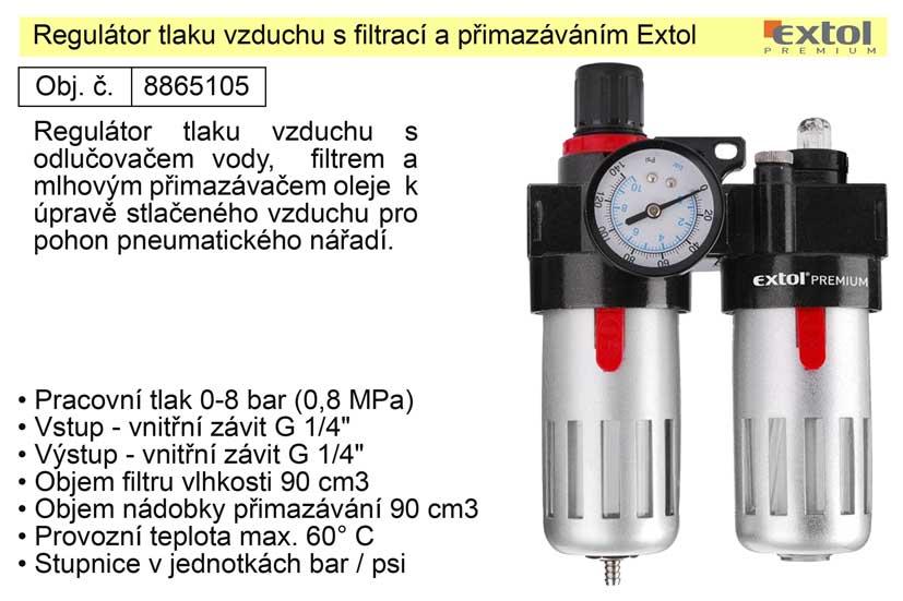 Regulátor tlaku vzduchu s filtrací a přimazáváním Extol 8865105