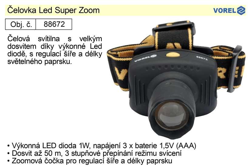 Čelovka Led Super Zoom l s vysoce výkonnou Led diodou 1W