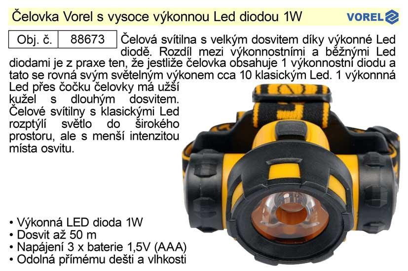 Čelovka Vorel s vysoce výkonnou Led diodou 1W