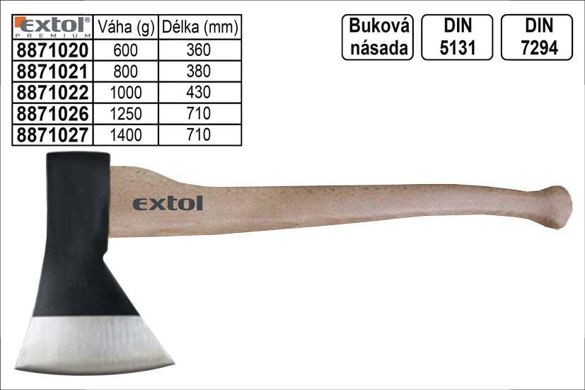 Sekera EXTOL PREMIUM s bukovou násadou 1250g Nářadí 1.869Kg MA8871026