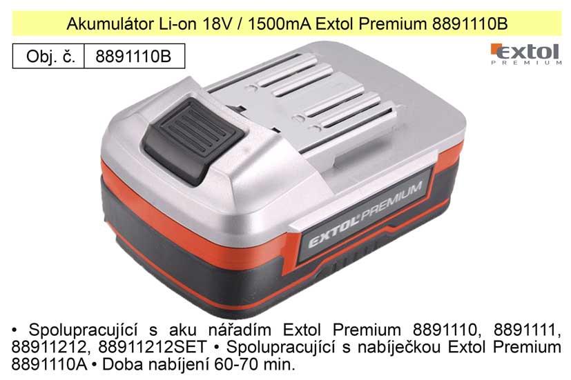 Akumulátor Li-on 18V / 1500mA Extol Premium 8891110B Nářadí 0.45Kg MA8891110B