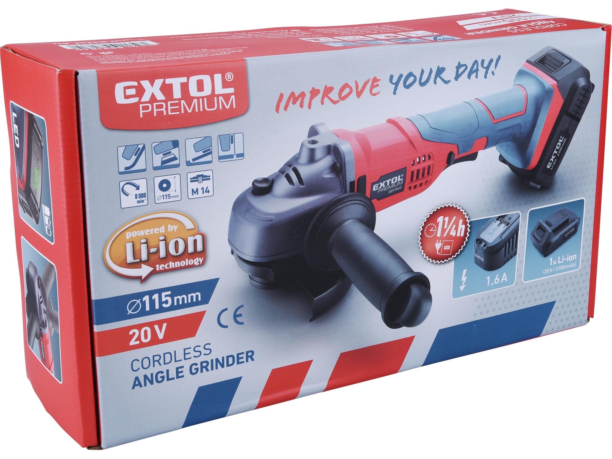 EXTOL PREMIUM bruska úhlová aku SHARE20V, 115mm, 20V Li-ion, 2000mAh 8891840