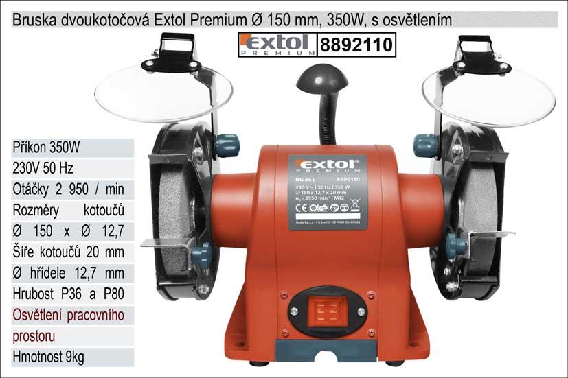 Bruska dvoukotoučová 350 W s osvětlením Extol Premium 8892110
