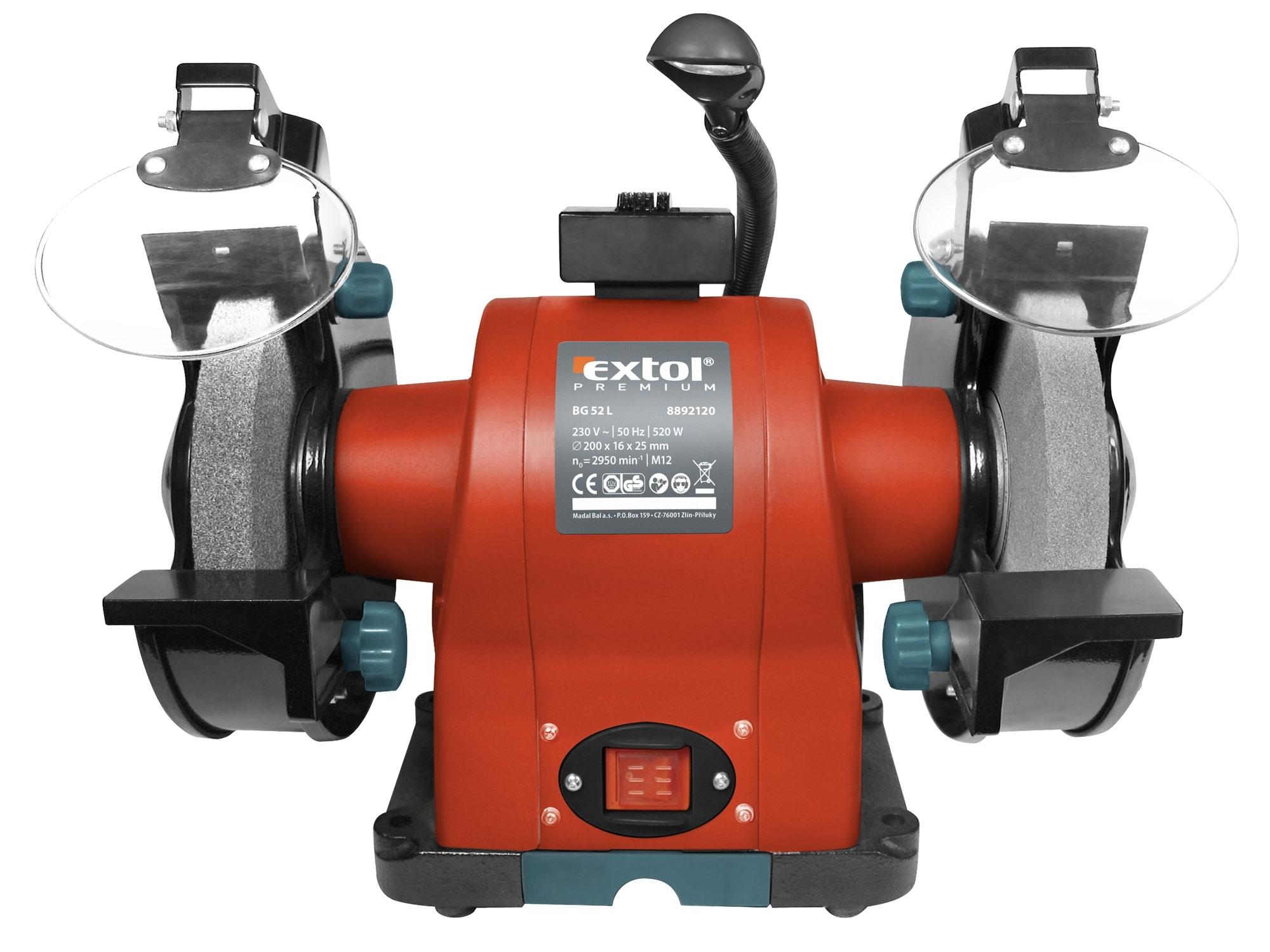 Bruska dvoukotoučová 200 mm  520 W s osvětlením Extol Premium 8892120
