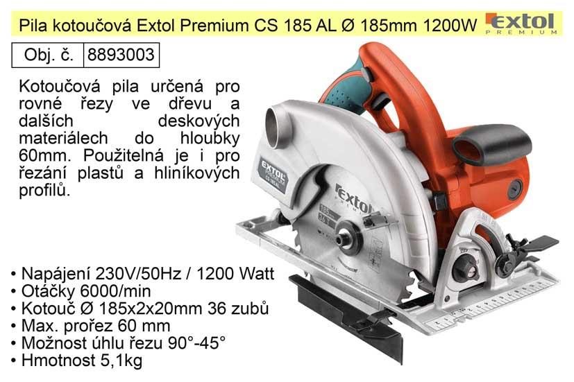 Pila kotoučová Extol Premium CS 185 AL O 185mm 1200W