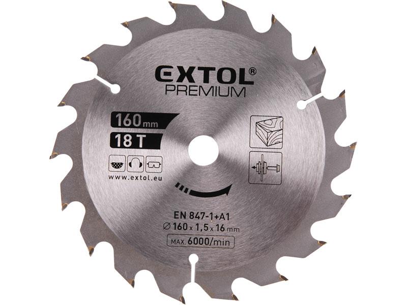 kotouč pilový s SK plátky, 160x1,5x16mm, 24T, šířka SK plátků 2,0mm, SK, EXTOL PREMIUM