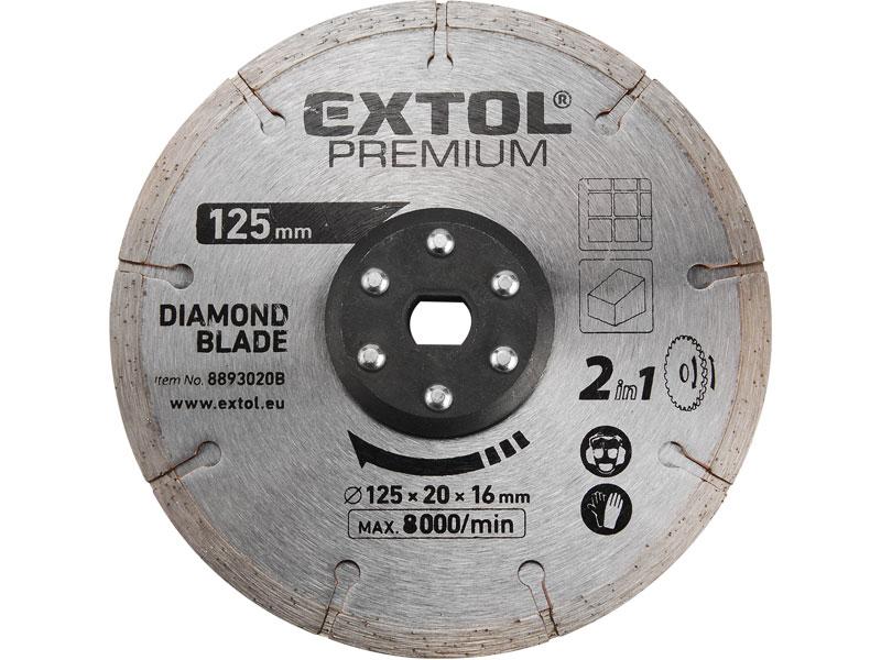 kotouc řezný, diamantový, 125x20mm, pro 8893020, EXTOL PREMIUM Nářadí 0.42Kg MA8893020B