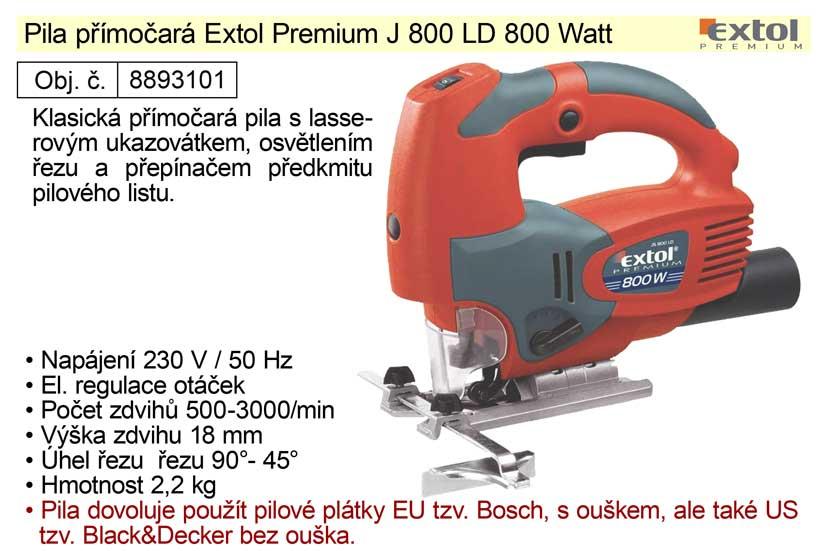 Pila přímočará s laserem  800 W  Extol Premium 8893101