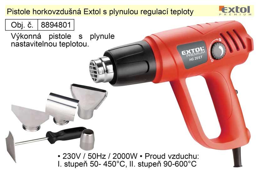 Pistole horkovzdušná s plynulou regulací teploty Extol Premium