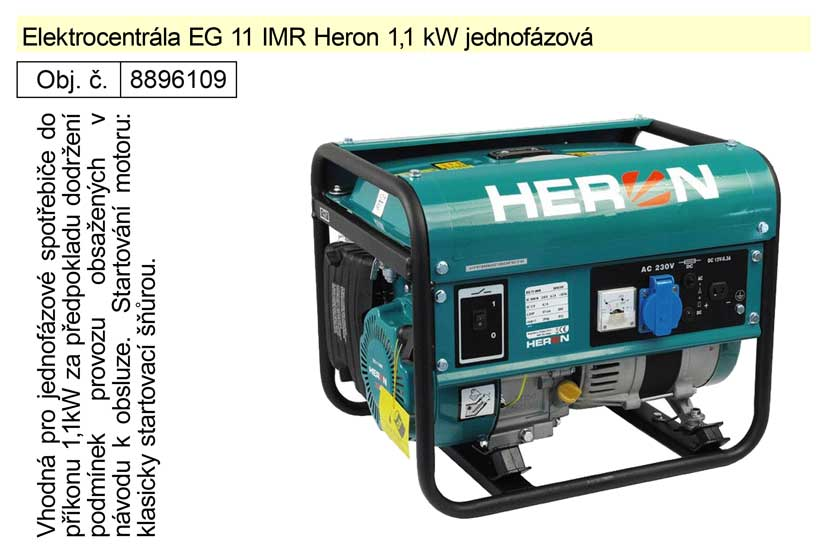 Elektrocentrála EG 11 IMR Heron 1,1 kW jednofázová