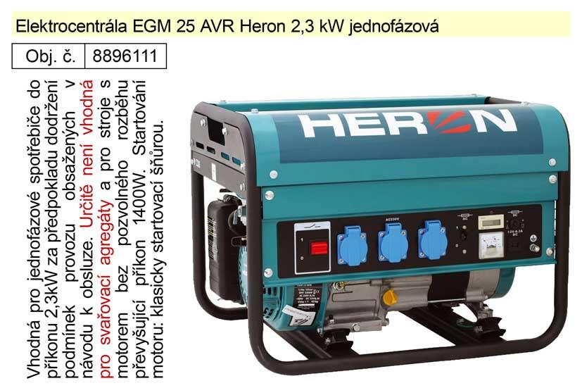 Elektrocentrála EGM 25 AVR Heron 2,3 kW jednofázová
