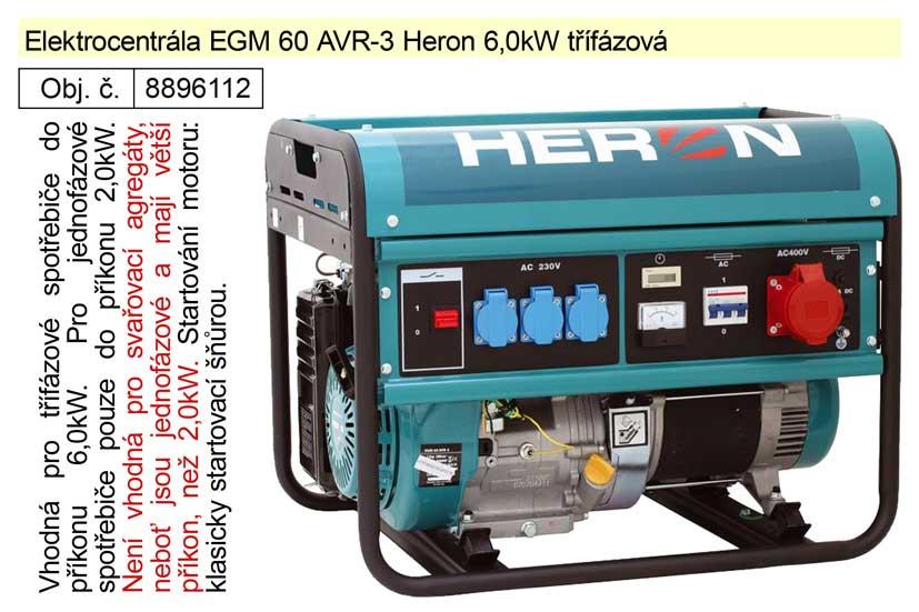 Elektrocentrála EGM 60 AVR-3 Heron 6,0kW třífázová