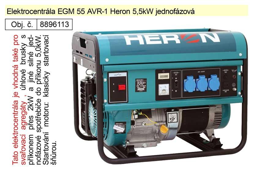 Elektrocentrála EGM 55 AVR-1 Heron 5,5kW jednofázová