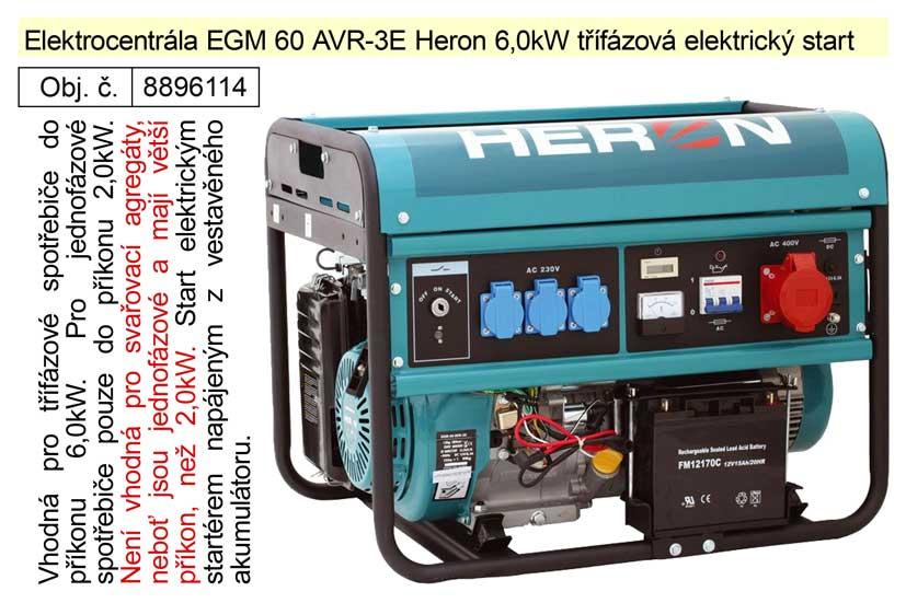 Elektrocentrála EGM 60 AVR-3E Heron 6,0kW třífázová elektrický start