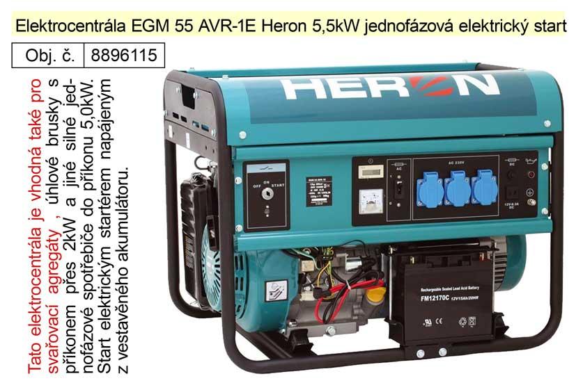 Elektrocentrála EGM 55 AVR-1E Heron 5,5kW jednofázová elektrický start