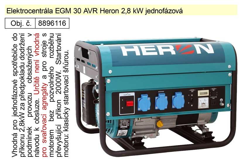 Elektrocentrála EGM 30 AVR Heron 2,8 kW jednofázová