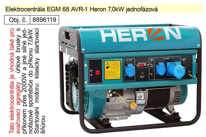 Elektrocentrála EGM 68 AVR-1 Heron 7,0kW jednofázová