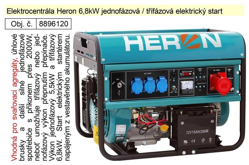 Elektrocentrála EGM 68 AVR-3E Heron 6,8kW jednofázová + třífázová elektrický start