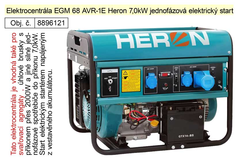 Elektrocentrála EGM 68 AVR-1E Heron 7,0kW jednofázová elektrický start