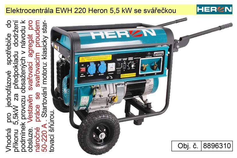 Elektrocentrála EWH 220 Heron 5,5 kW se svářečkou jednofázová