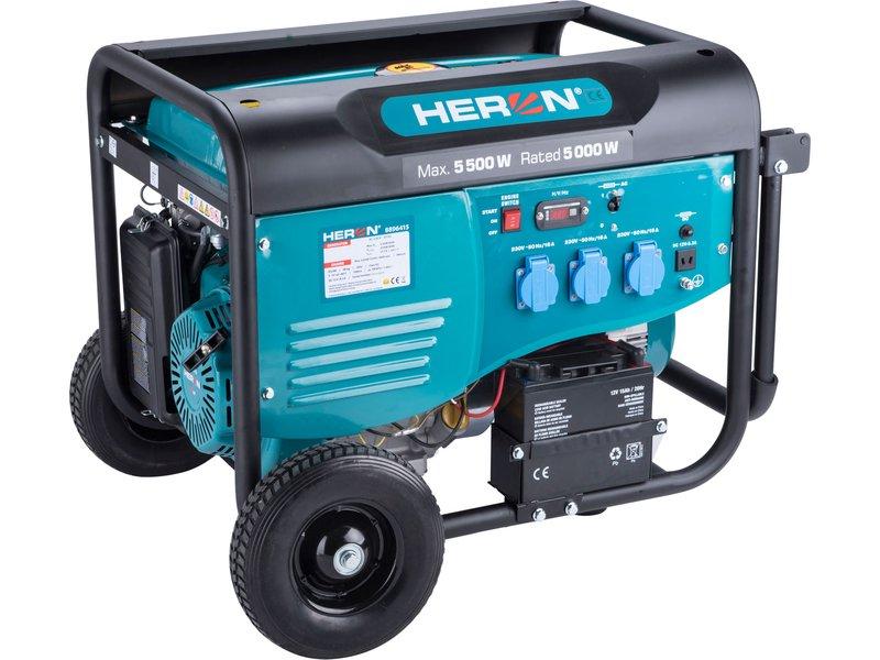 HERON elektrocentrála benzínová 5,5kW/13HP, pro svařování, elektrický start, podvozek
