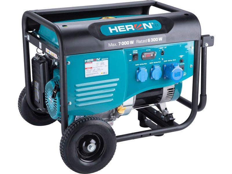 HERON elektrocentrála benzínová 7,0kW/15HP, pro svařování, podvozek  8896419