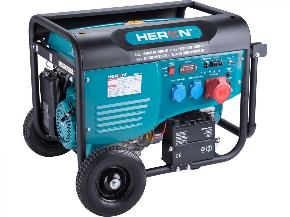HERON elektrocentrála benzínová 15HP/6,8kW (400V), 5,5kW (230V), el. start, 8896420
