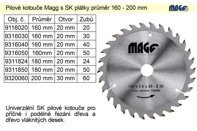 Pilový kotouč s SK plátky 160x20mm 40 zubů Magg