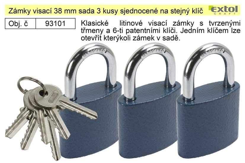 Zámky visací 38 mm sada 3 kusy sjednocené na stejný klíč