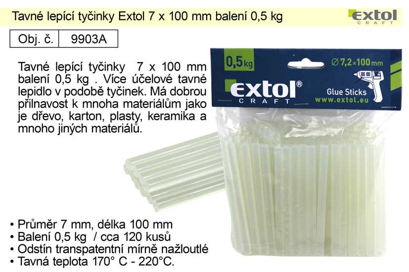 Tavné lepící tyčinky 9903A rozměr 7x100mm balení 0,5kg