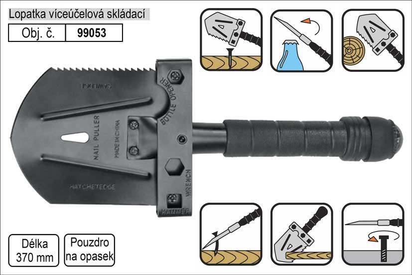 Lopatka víceúčelová FLO s pouzdrem k zavěšení na opasek, délka 370mm