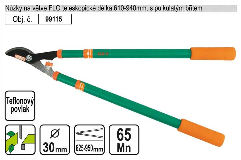 Nůžky na větve FLO 610-940mm půlkulatý břit teleskopické
