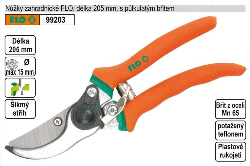 Nůžky zahradnické FLO 210mm půlkulatý břit