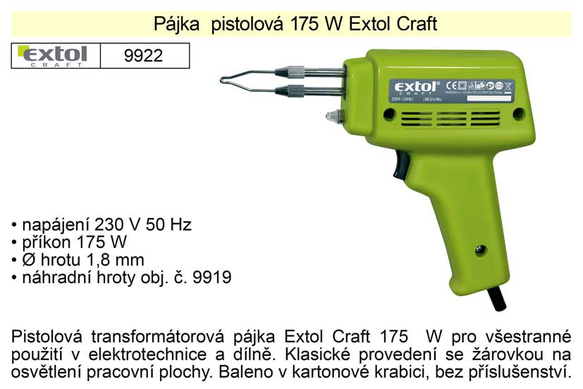 Pájka pistolová 175 W Extol Craft