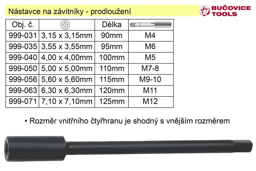 Nástavec pro závitník  M4 délka 90mm prodloužení: 3,15mm