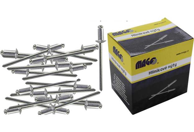 Nýty trhací Alu průměr 4,0 mm délka12,7 mm balení 1000 kusů v krabici Mag