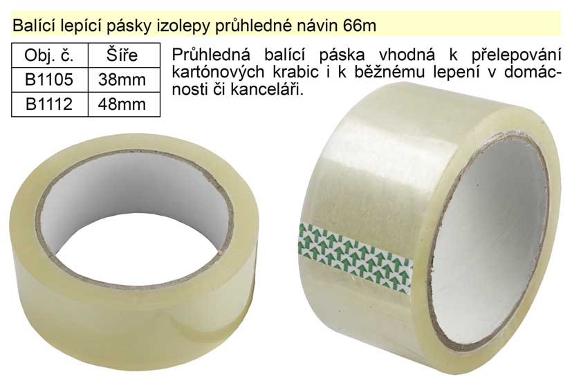 Balící lepící páska izolepa 48mm x 66m průhledná