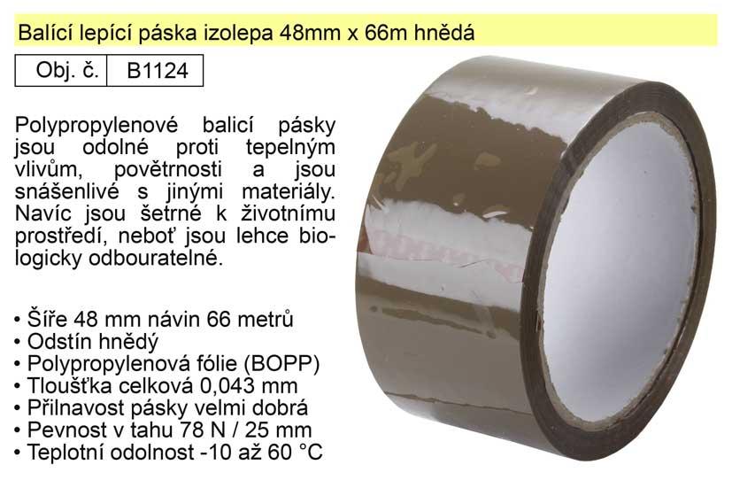 Balící lepící páska izolepa 48mm x 66m hnědá