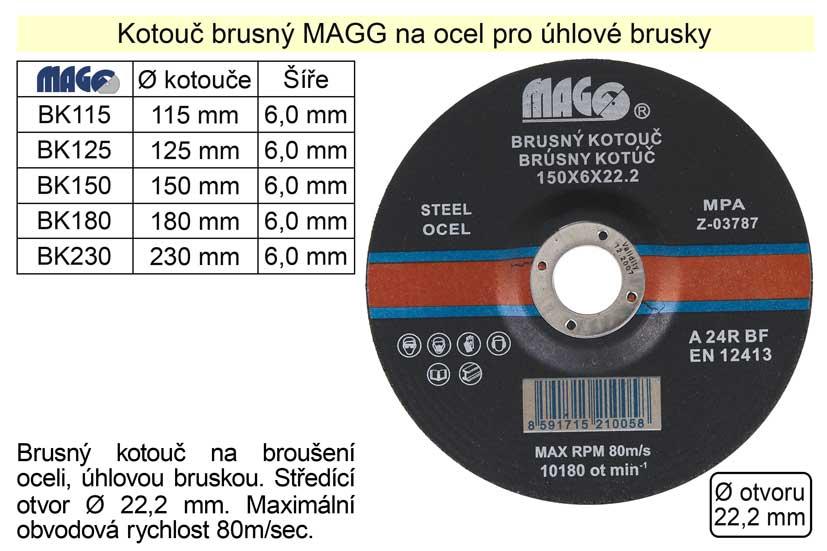 Kotouč brusný na ocel MAGG 180x6 Nářadí 0.365Kg BK180
