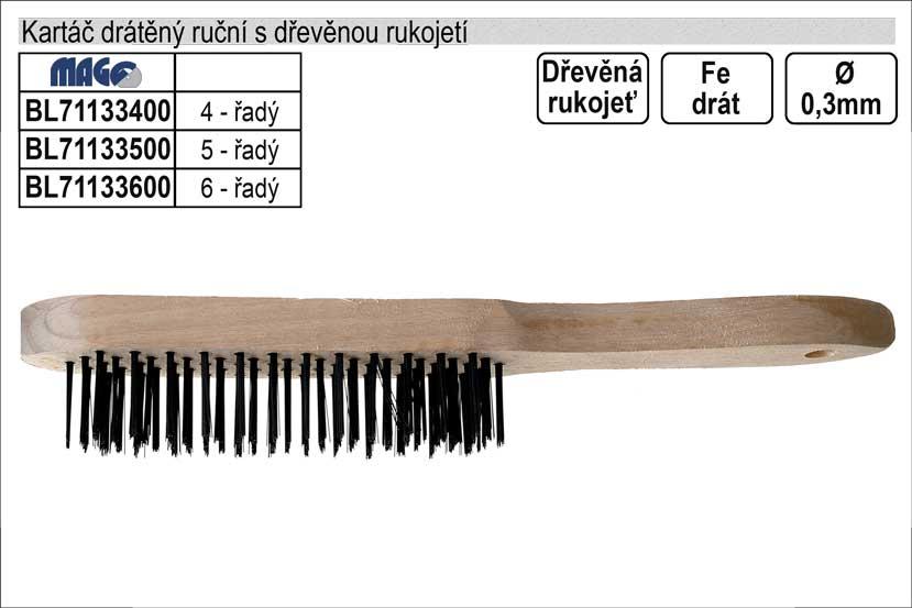 Kartáč drátěný ruční ocelový dřevěný 4 řadý