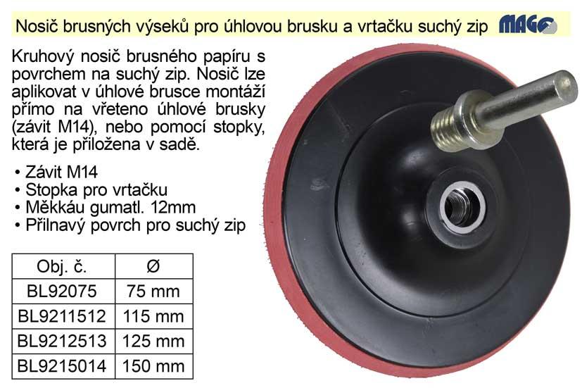 Nosič brusných výseků  75mm pro úhlovou brusku a vrtačku suchý zip