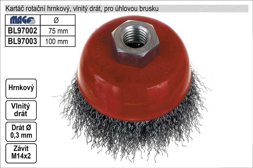 Kartáč rotační hrnkový 100mm vlnitý drát pro úhlovo Nářadí 0.4Kg BL97003