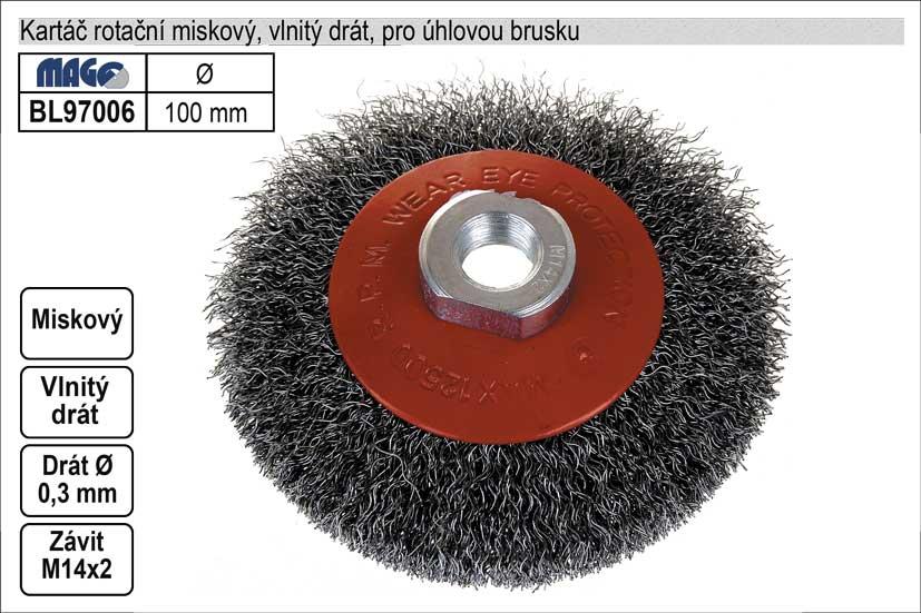 Kartáč rotační miskový 100mm vlnitý drát pro úhlovo
