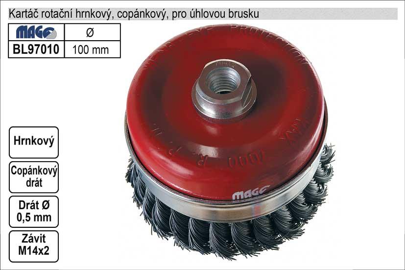 Kartáč rotační hrnkový 100mm copánkový pro úhlovou brusku (TR253135)