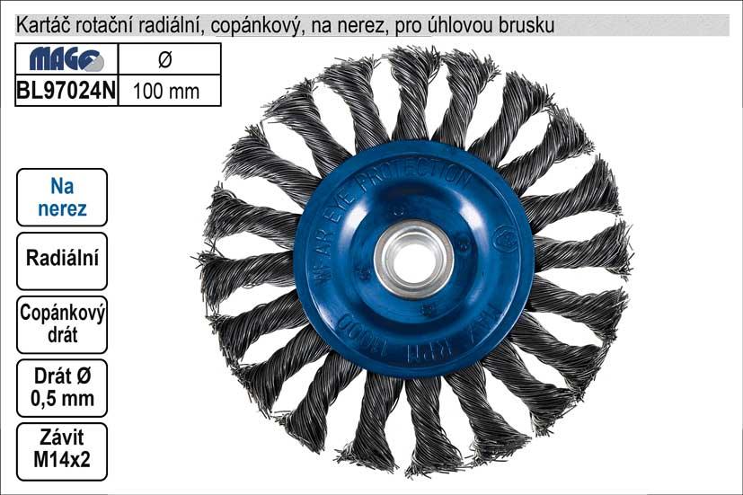 Kartáč rotační na nerez radiální 100mm copánkový pro úhlovou brusku