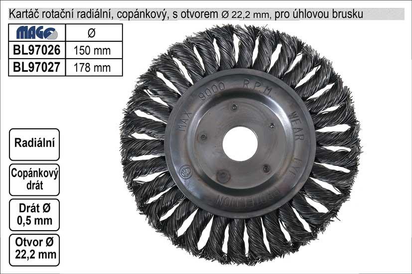 Kartáč  rotační radiální 178mm copánkový pro úhlovou brusku