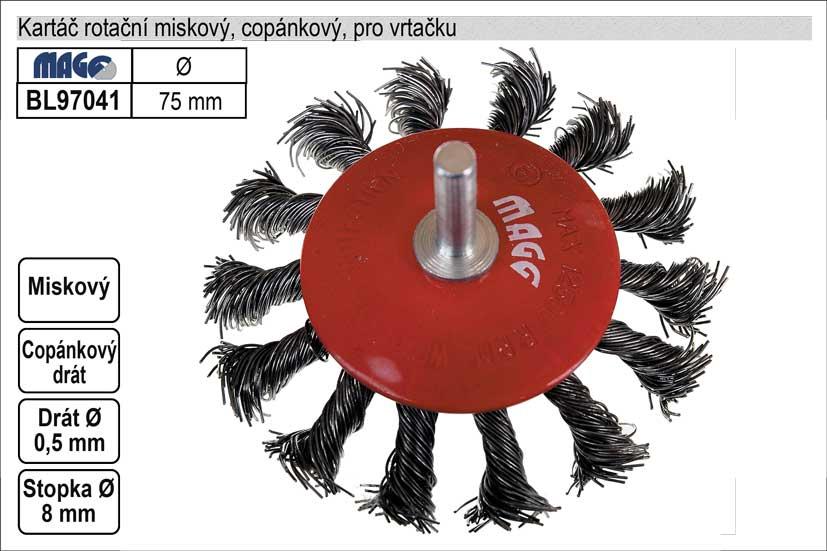Kartáč rotační miskový  75mm copánkový pro vrtačku (TR253130)