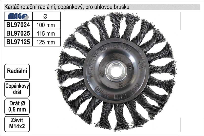 Kartáč rotační radiální 125mm copánkový pro úhlovou