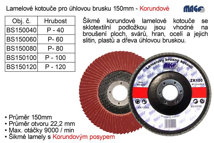 Kotouč lamelový Magg korundový 150mm P60 Nářadí 0.164Kg BS150060